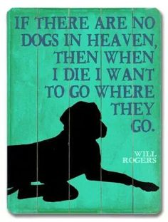 If there are no dogs in heaven, then when I die I want to go where they go.