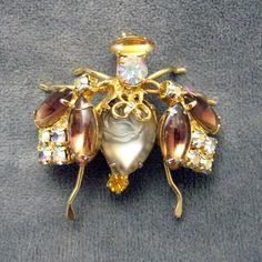 Vintage Rhinestone Bug Brooch Fabulous by PurpleDaisyJewelry