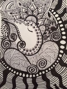 the path of my pencil takes me through some doodles, sketches and some ramblings in writing. Doodle Art Drawing, Zentangle Drawings, Mandala Drawing, Cool Art Drawings, Art Drawings Sketches, Mandala Doodle, Zentangle Patterns, Zentangles, Ganesha Art