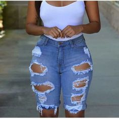 Women 2018 Summer Half Length Jeans Ripped New High Waist Fashion Streetwear Hole Stretch Slim Torn Woman Denim Shorts Skinny Shorts, Ripped Jeans, Denim Shorts, Denim Romper, Destroyed Jeans, Long Shorts, High Jeans, Blue Shorts, Jeans Pants