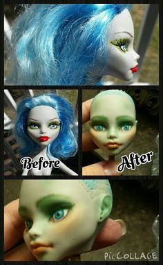 This weekend I received my first order from DollyHair and was excited to get started. I ordered hair in Blueberry Muffin, DragonFly and Poison Ivy to go along with the recently repainted Ghoulia Ye...