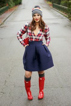 Red Gumboots, Winter Outfits, Hunter Boots, Hudsons Bay, Plaid, Cute Red Hunter Boots, Hunter Wellies, Wellies Rain Boots, Hunter Outfit, Hot Outfits, Rain Wear, Beautiful Legs, Lifestyle Blog, Fashion Forward