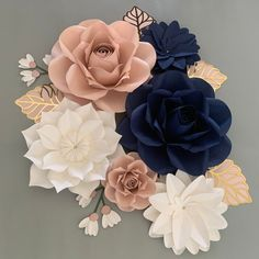 Paper Flowers Wall Decor, Paper Flowers for Girls Room, Floral Nursery, Navy and Blush Pink paper flowers with silver leaves White Paper Flowers, Paper Flower Decor, Pink Paper, Diy Flowers, 3d Flower Wall Decor, Gold Nursery, Floral Nursery, Floral Wall, Paper Flower Arrangements