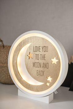 Night light – Moon lamp – Wooden lamp – Wall lamp – Marquee lamp – half moon – Night light – Nursery lamp – Kids lamp – Wood lamp - All For House İdeas Lampe Laser, Wall Art Decor, Nursery Decor, Nursery Lamps, Nursery Art, Baby Shower Gifts, Baby Gifts, Kids Lamps, Moon Nursery