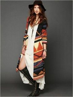 NWOT FREE PEOPLE orange LIMA aztec LONG PATTERNED CARDIGAN maxi sweater L No longer available on the website!