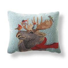 Moose Winter Wonderland Pillow-Grandinroad