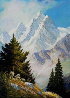 New nature paintings bob ross Ideas Mountain Paintings, Nature Paintings, Beautiful Paintings, Beautiful Landscapes, Fantasy Landscape, Landscape Art, Landscape Paintings, Peintures Bob Ross, Watercolor Landscape