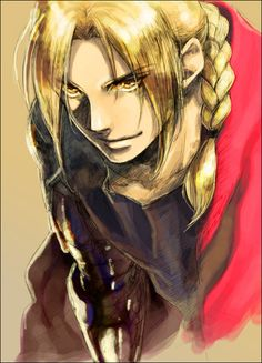 Edward Elric from Fullmetal Alchemist. Kewl watercolor - at least it looks like watercolor.
