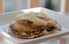Healthy 2 Ingredient Pancakes with Apple Cinnamon Syrup