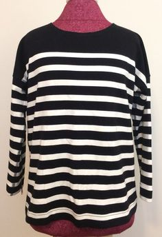 J. Crew Striped Ponte Sweatshirt Size Small Black White Zippered Cotton Sweater #JCREW #Crewneck