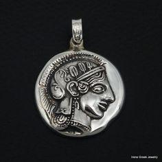 ATHENA GODDESS COIN PENDANT 925 STERLING SILVER GREEK HANDMADE ART BIG RARE #Handmade #Pendant