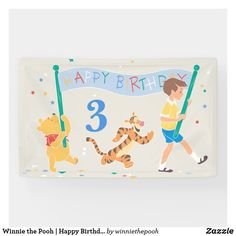 Winnie the Pooh | Happy Birthday Banner Happy Birthday Kids, Happy Birthday Banners, Birthday Parties, Baby Shower Invitations, Birthday Invitations, Cute Winnie The Pooh, Disney Boys, Outdoor Banners, Tigger