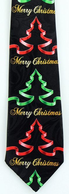 Christmas Wreath Men/'s Necktie Holiday Ribbon Holly Classic Gift Black Neck Tie