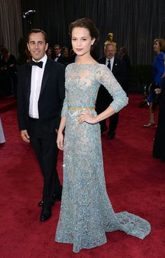 So pretty love that pastel blue - Alicia Vikander stepped out in a beaded Elie Saab Couture gown. Oscars 2013.