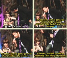 [GIFSET] Misha explaining to West about what some fans do with their pictures ;) #VegasCon2014