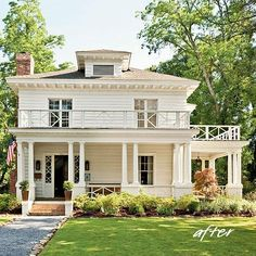 White traditional house with porches - Love porches
