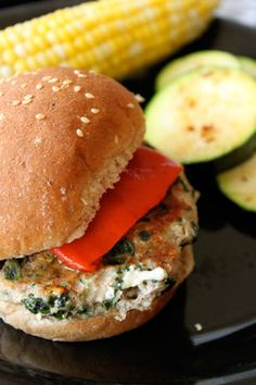 Spinach Feta Turkey Burgers:    1 lb lean ground turkey (at least 90%)  1 cup (80g) Old Fashioned Oats  2 large egg whites  10 oz frozen chopped spinach  1/2 cup (68g) ATHENOS crumbles feta (I used Black Peppercorn)    135 cals a patty