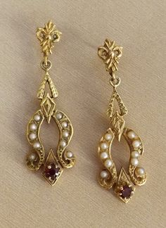 Victorian earrings, seed pearls, garnet, 14k gold