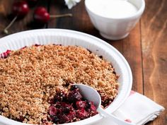 This is an absolutely fabulous, simple yet complex tasting recipe. The cherries and dried cranberries create a balance of sweet and tart flavors that are topped off with a beautiful, crunchy crumble.