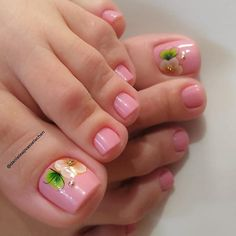 Pedicure Designs, Manicure E Pedicure, Toe Nail Designs, Pink Nail Art, Toe Nail Art, Pink Nails, Claire's Nails, Feet Nails, Cute Summer Nail Designs