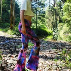 Time for a tie-dye fix! Here are the beautifully coloured Niamh Flares traipsing through the forrest. You can find a pair on Etsy #flares #flarestreet #bells #bellbottoms #boho #bohemian #gypsy #hippy #forrest #pixie #vintage #retro #seventies #style #sixties #etsy #fashion #shoponline #meredith #festivalstyle #festival #melbourne #festivalfashion #tiedye