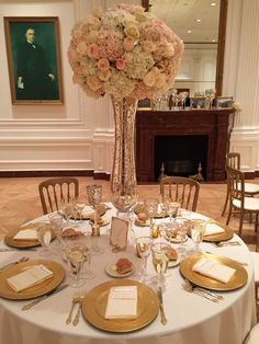 Gold and Blush Centerpieces by Tustin Florist