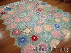 At auction now! FUSSY Vintage 30s Green Path Grandmothers Flower Garden QUILT TOP Handpieced www.Vintageblessings.com