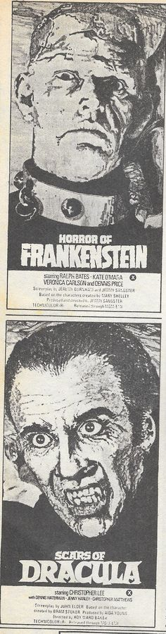 Posters for Horror of Frankenstein and Scars of Dracula