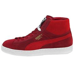 Puma Suede Mid Classic+ Mens 356340-18 Red White Athletic Shoes Sneakers Sz 13