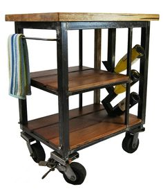 Napa kitchen cart made from reclaimed butcher block and steel. Built with wheels and a wine rack | CustomMade