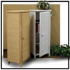 Tall Wicker Storage Cabinet via @wickerparadise #wicker #cabinet #tall #bathroom www.wickerparadise.com