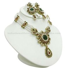 jewelry green sarees | GREEN CZ PEARL TRADITIONAL NECKLACE EARRING INDIAN WEDDING WOMEN SAREE ...