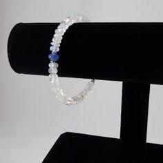 Rainbow Moonstone and Tanzanite Bracelet/ by angelovajewelry