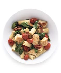 Pasta With Chicken and Bacon from realsimple.com #myplate #protein #vegetables