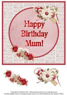 Happy Birthday Mum Floral Topper Decoupage on Craftsuprint - Add To Basket!