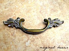 Victorian Brass Pull with White Patina