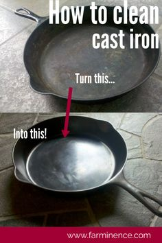 Cast Iron Care: Cleaning and Maintaining Cast Iron Skillets and Cookware Proper cast iron care will ensure your cookware is nonstick and lasts for years. Learn how to take care of a cast iron skillet or other cast iron cookware. Deep Cleaning Tips, House Cleaning Tips, Diy Cleaning Products, Cleaning Solutions, Spring Cleaning, Cleaning Hacks, Iron Cleaning, Diy Hacks, Cleaning Rusty Cast Iron