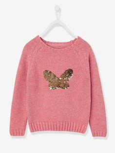 Jersey niña mariposa con lentejuelas rosa maquillaje - Vertbaudet