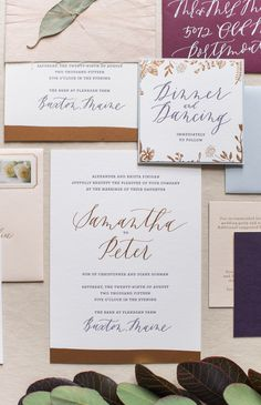 Romantic Copper Foil Wedding Invitations