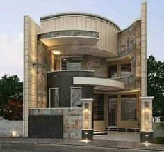 modern house front design ideas exterior wall decoration t Bungalow House Design, House Front Design, Cool House Designs, Design Exterior, Facade Design, Architecture Design, Minimalist House Design, Modern House Design, Villa Design