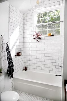 11 Shortcuts That Make Cleaning Your Home So Much Easier | The Everygirl White Subway Tile Bathroom, Bathroom Tub Shower, Bathroom Floor Tiles, Master Bathroom, Tile Floor, Shower Tiles, Shower Floor, Shower Window, Bathtub Shower Combo
