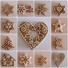 Pretty gingerbread cookie decorating ~ the site is not in English, but if you scroll to the bottom there are lots of these intricate ideas. Gingerbread Decorations, Gingerbread Cake, Christmas Gingerbread, Christmas Decorations, Christmas Biscuits, Christmas Baking, Christmas Treats, Iced Cookies, Christmas Cookies