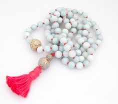 Amazonite and Blue Opal Hand Knotted Japa Mala Prayer Beads - Just received these today and they are gorgeous!