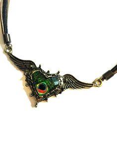 Antique Brass Steampunk Heart Wings Pendant by ShamelessStatements