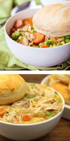 Crock Pot Soup, Slow Cooker Soup, Crock Pot Cooking, Slow Cooker Recipes, Cooking Recipes, Pot Pie Recipes, Slow Cooker Casserole, Salad Recipes, Healthy Chicken Pot Pie