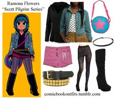 Ramona Flowers  ChokerBeltTightsBootsShortsBagHoodieJacket  I think I'm done with non-superhero stuff for the moment. Now I'll go back to your scheduled programming.