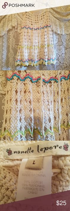 """Nanette lepore skirt Creme crochet skirt with liner. Thighs across 21"""" top of skirt to bottom 26"""" blue and pink stitched across on one line further down yellow and green. Gorgeous skirt. Euc Nanette Lepore Skirts Midi"""