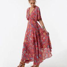 2017 Vestido Long Flower Dress Retro Bohemian Maxi Dress Sexy Ethnic Deep V-neck Floral Print Beach Dresses Boho Hippie Robe