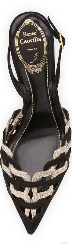 Rene Caovilla ~ Braided Black + Ivory Suede Slingback Sandal