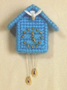 COO COO CLOCK tree ornament country blue plastic canvas by mawaggie